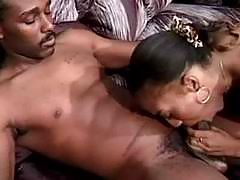 Horny ebony girl in wild porno