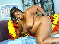 Dark skinned MILF with big boobs getting banged hardcore
