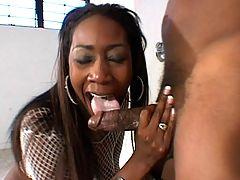 Black hottie in white having her pussy filled balls deep