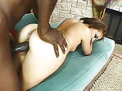 She loves being fucked so much in her ebony snatch that she makes sure he empties his load inside of her here