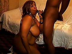 Dark and lovely black fatty sucks and fucks this lucky guy