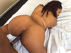 Juicy black booty bounces as her ebony pussy gets slammed