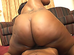 Black BBW rides a stiff prick to an orgasm