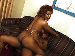 Her round black ass cheeks get spread so she can fit every inch of this guy's black cock