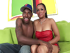 Horny curvy black chick gives him some lip service before spreading her legs and getting her dark pussy fucked