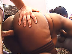 Black BBW in glasses takes on two cocks for their hot cum