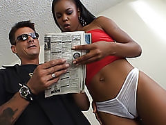 This black girl is so tight that she squeezes his white cock with her black pussy and makes him shoot cum hard