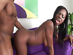 Jezabelle Sweet's dark pussy lips get glazed with cream after he pounds her snatch and shoots his load in her