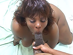 Thick ebony BBW sucks a fat cock and gets fucked for his cum