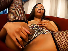 Foxy ghetto bitch takes a foot long dick in her black pussy, and about a quart of hot man cream in it as well