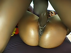 Raunchy ghetto slut milks dicks dry until they explode inside of her ebony fuck box and drools out of her