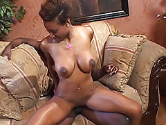 Black chick with big tits grinds her pussy on this guy's cock to make him fuck her as hard as he possibly can
