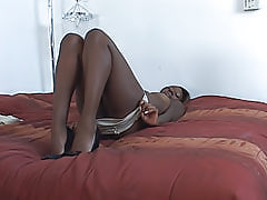 This guy slams his big black dick inside of Gen Tilly's ebony pussy, and then shoots loads of cum on her face