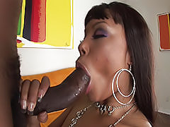 Horny ghetto bitch climbs on top of a mountain of a cock and sits right down on it until it disappears in her