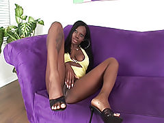 She rubs her swollen black clit while he pumps his dick in and out of her hole, ready to explode all over her